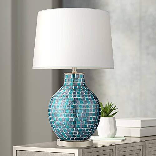 Modern Table Lamp Mosaic Teal Tiles Glass Jar Shaped White Drum Shade for Living Room Family Bedroom Bedside - 360 Lighting