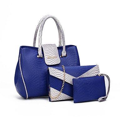 Señoras PU casual bolso nuevo, Gris Blue