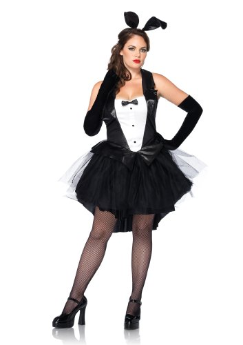 Leg Avenue Women's Plus-Size 2 Piece Tux and Tails Bunny Tuxedo Costume, Black/White, X-Large/XX-Large]()