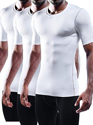 ec9d1ab6f4a4 Neleus Men's 3 Pack Workout Athletic Compression Shirts,White,US L,EU XL