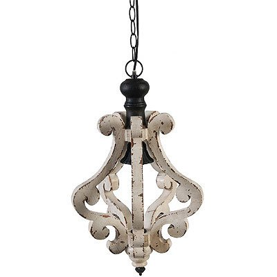 A&B Home Perth Wooden Chandelier, 12.6 X 20.9-Inch (Chic Paint Shabby)
