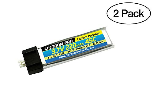 (2 Pack) Lectron Pro 3.7V 220mAh 45C Lipo Battery with Micro Connector for Blade mCX, mCX2, mSR, mSR X, Nano QX, UMX AS3Xtra