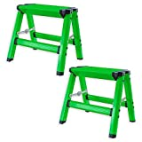 AmeriHome Aluminum Durable and Stylish Step Stools, Measures 13.5'' L x 12'' W x 6'' H, (Set of 2) (Green)