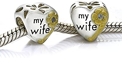 Love Wife Heart Everbling Love My Darling Wife Love My Husband Sweet Heart Family 925 Sterling Silver Bead For European Charm Bracelet