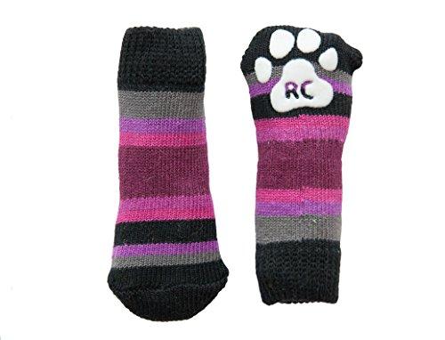 RC Pet Products Pawks Dog Socks, Small, Purple Stripes