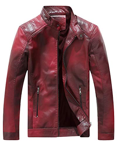 - Fairylinks Red Leather Jacket Men Casual Camo, Burgundy, Small