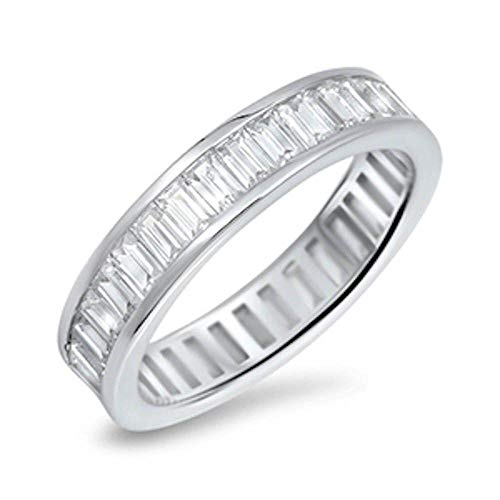 Princess Kylie Channel Set Baguette Clear Cubic Zirconia Eternity Band Ring Sterling Silver Size 8