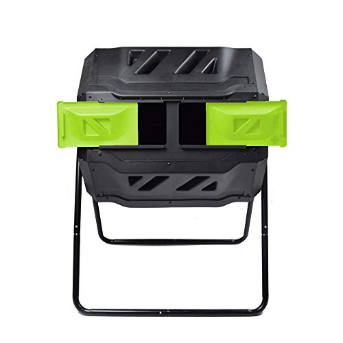 Best Prices! EJWOX Composting Tumbler 43 Gallon, Dual Rotating Compost Bin, Green (Renewed)