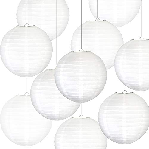 Novelty Place 8 inch White Paper Lanterns (Pack of 10) - Great Chinese/Japanese Home, Party & Wedding Decorations ()