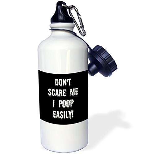 3dRose Dont Scare me I Poop Easily Black White-Sports Water Bottle, 21oz (wb_200797_1), Multicolored