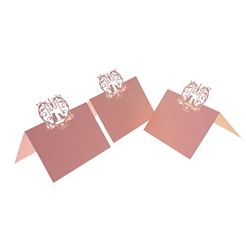 Love Birds Place Card Holder - UNIQLED Pack of 60 Laser Cut Perfect Pair Love Birds Paper Wedding Table Numbers Place Card Escort Name Cards for Wedding Party Decoration (Pink)