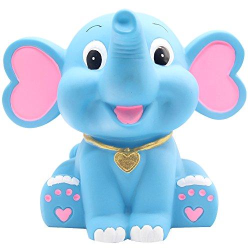 H&W Cartoon Elephant Coin Bank, Can Store 900 Coins, Anti-Broken Money Box, Piggy Bank, Best Gift for Kids, Boys, Blue (WK3-D2) -