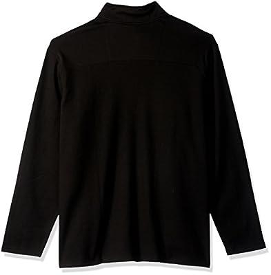 Calvin Klein Men's Big and Tall Long Sleeve 1/4 Zip Solid Jacquard Knit Shirt