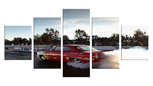 Drag Racing Wall Decals - 5 Pieces Wall Art - Oil Painting Printed Wall Decor - Unframed - Funny Vintage Window Birthday Decoration Bumper Sticker #12
