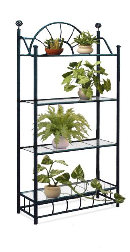 Elegant 4 Tier Black Metal Sunburst Outdoor Patio Plant Stand With Glass Shelves