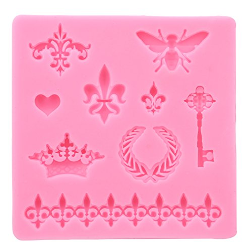 (GUAngqi Silicone Cake Mold Bee Crown Key Mirror Heart Lace Silicone Fondant Chocolate Polymer Clay Mold Cupcake Topper Cake Decorating Tool Polymer Clay Crafting Projects)