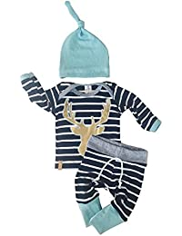 3pcs/Set Newborn Baby Boys Girls Striped Long Sleeve Deer...