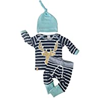3pcs/Set Newborn Baby Boy Girl Striped Long Sleeve Deer Tops Pants + Hat Outf...
