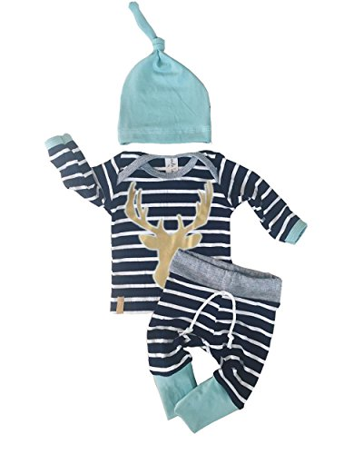3pcs/Set Newborn Baby Boy Girl Striped Long Sleeve Deer Tops Pants + Hat Outfits (Newborn Babies)