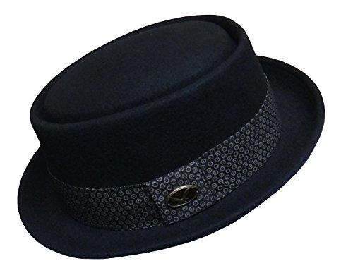 Differenttouch Men's 100% Wool Felt 53EH Round Top Pork Pie Short Brim Upturn Fedora Hats (Wool Felt Pork Pie Hat)