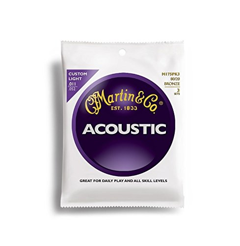 Martin M175 80/20 Acoustic Guitar Strings, Custom Light 3 Pa