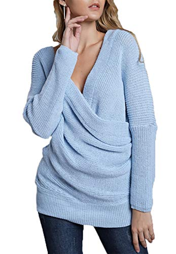 HZSONNE Women s Off Shoulder Casual Sweater Deep V Neck Wrap Pullover Loose  Fit Bat Wing Sleeve Jumper Knitted TopsASIN  B07G46HQBF ... 0f3a38127
