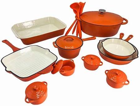 Le Chef 21-Piece Enameled Cast Iron Orange Cookware Set.