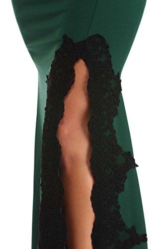 Drehouse Femmes Noires Appliques Sirène Robes De Bal Fendus Robes De Fête De Mariage Longue Vert