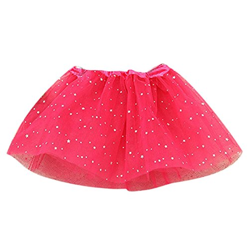 2-7 Years Baby Kids Girls Lace Stars Sequins Mesh Pettiskirt Party Princess Dance Ballet Mini Tutu Skirts Dress (Hot Pink, One Size: 2-7 Years)