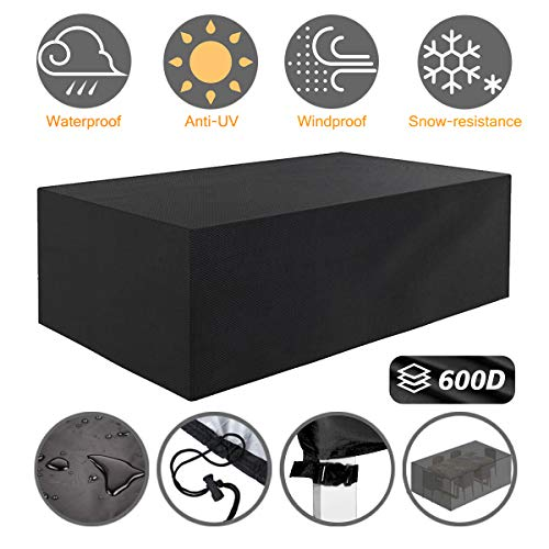 Tvird Patio Furniture Covers,Outdoor Furniture Covers Waterproof, 600D Heavy Duty Oxford Fabric,Table and Chair Patio Set Covers Windproof 242 x 162 x 100 cm(Black) (Garden Table And Rectangular Chairs)