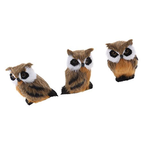 MagiDeal 3pcs Mini Simulation Owl Animal Home Decoration Simulation Artificial Owl Photograph by Unknown