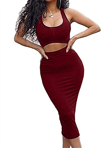 GOBLES Women's Sexy Summer Outfits Bodycon Tank Top Midi Skirt 2 Piece Dress Wine - Womens 2 Piece Dress