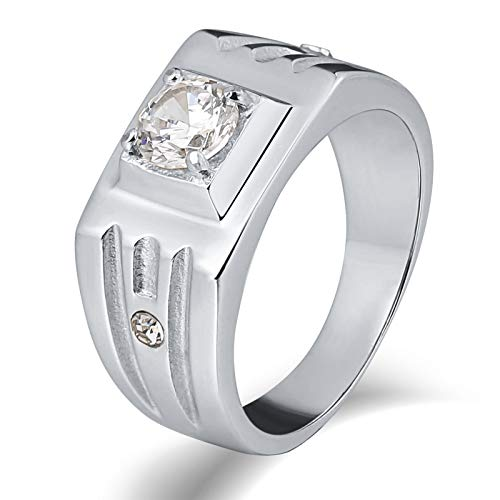 Anooe Jewelry Men Ring Stainless Steel Statement Ring Rectangle Silver Anniversary Cubic Zirconia 9