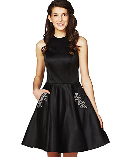 Yilis Women's Halter Beaded Bodice Satin Homecoming Dress Short Formal Evening Party Gown with Pockets Size 14 (Waist Beaded Bodice)