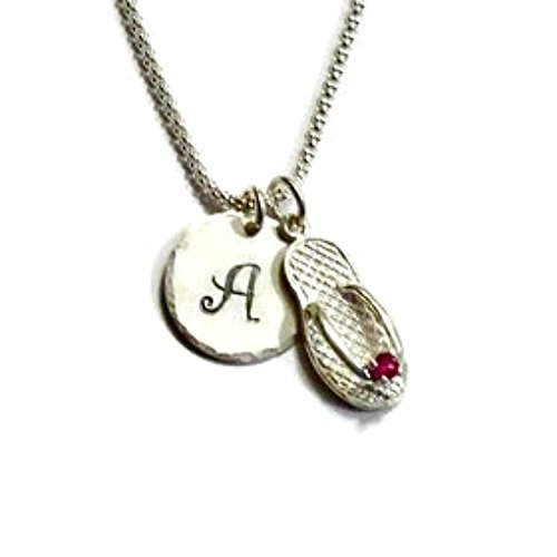 July Ruby Birthstone CZ Flip Flop Hand Stamped Sterling Silver Initial Charm Necklace ()