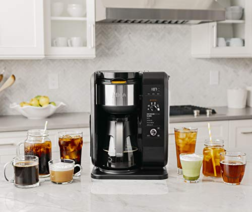 Ninja Hot and Cold Brewed System, Auto-iQ Tea and Coffee Maker with 6 Brew Sizes, 5 Brew Styles, Frother, Coffee & Tea Baskets with Glass Carafe (CP301)