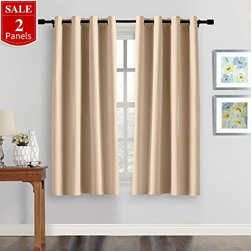 FAIRY HOUSE Thermal Insulated Solid Grommet Blackout Curtains/Drapes for Livingroom (One Pair,52 by 54-Inch, Beige)