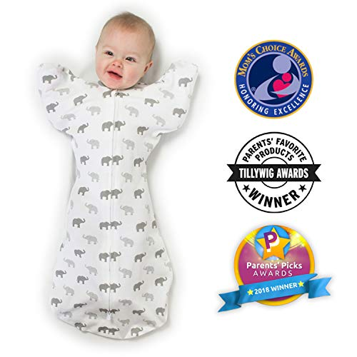 Amazing Baby Transitional Swaddle Sack with Arms Up Mitten Cuffs, Tiny Elephants, Sterling, Medium, 3-6 Months (Parents' Picks Award Winner)