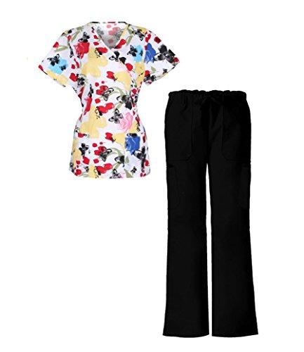 G Med Women's Mock Wrap Printed Top and Pant Scrub Set 2 Pieces Set Back Tie(SET-MED,BLKA4-XL)