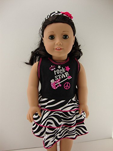 afa95f0ac A Zebra Print Dress with a Rock and Roll Theme with Matching Headband for  18 Inch