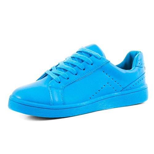 Marimo Super Trendige Vollfarbige Color Damen Schnür Sneaker in Verschiedenen Farben Royalblau