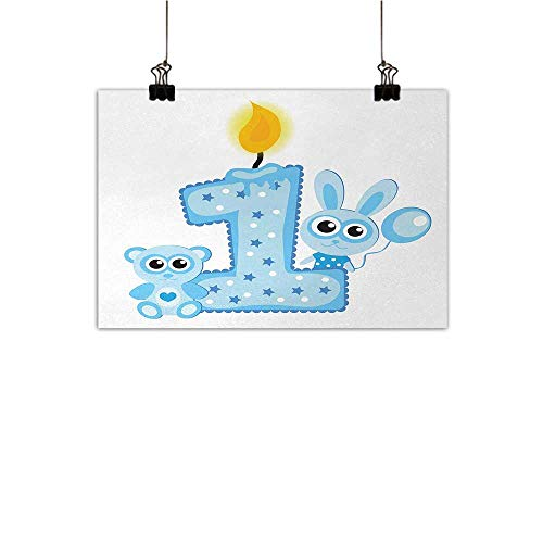 Baby Einstein Cake - Anzhutwelve 1st Birthday Abstract Painting Boys Party Theme with a Cake and Candle Rabbit and Bear Animals Natural Art Baby Blue and Pale Blue 27