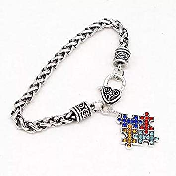 Qieeee Autism Awareness Classic Bracelets with Colored Puzzle Jigsaw Puzzle Pendant for Autistic Children OCD ADHD ADD Love