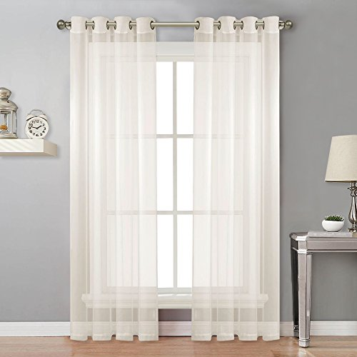 NICETOWN Sheer Curtains 96 Long - Grommet Top Voile Panels for Hall/Parlor/Guest Suite (2 Pieces, 54 wide x 96-inch length, Ivory) (Long Sheers)