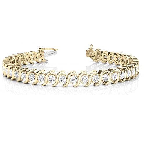 OMEGA JEWELLERY 14K Yellow Gold Round Diamond S-Link Tennis Bracelet for Women (3.08 Ct), 7-Inch
