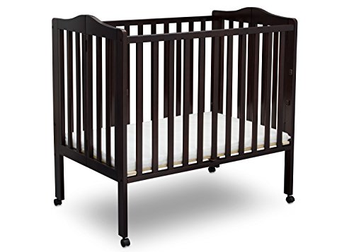 Delta Children Folding Portable Mini Crib with Mattress, Dark Chocolate
