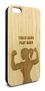 Genuine Maple Wood Organic Train Hard Play Hard Women's Fitness Snap-On Cover Hard Case for iPhone 6 Plus BY icecream design