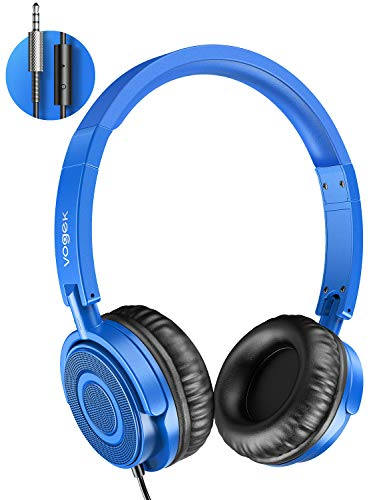 On Ear Headphones with Mic, Vogek Lightweight Portable Fold-Flat Stereo Bass Kids Headphones with 1.5M Tangle Free Cord and Microphone for Kids-Blue