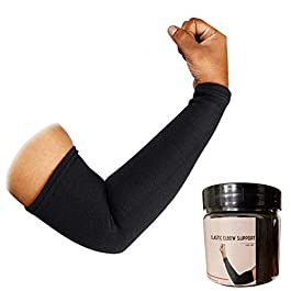 Aeroglo Health – Warm Compression Arm & Elbow Support Sleeve (Pair Pack in Re-usable Jar) for Pain, Jerk and Tan Prevention – Soft, Knitted & Breathable Material