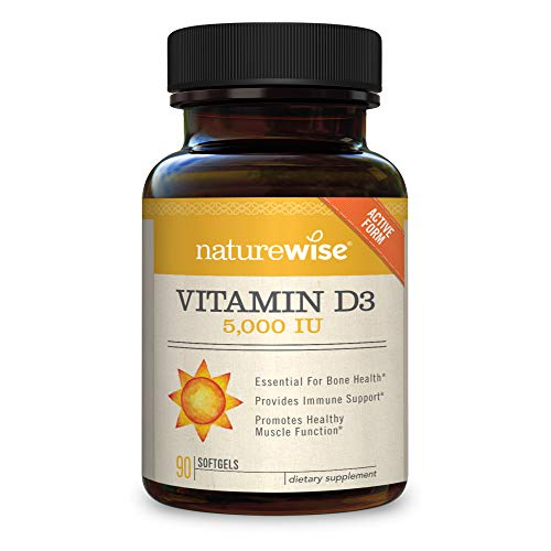 - NatureWise Vitamin D3 5,000 IU for Healthy Muscle Function, Bone Health, & Immune Support | Non-GMO in Cold-Pressed Organic Olive Oil & Gluten-Free (Packaging May Vary) [3 Month Supply - 90 Count]